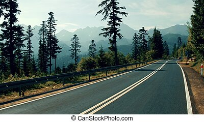 Spectacular view to mountains from the car road