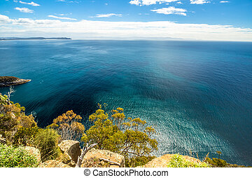 Spectacular views of the cliffs, ocean and Penguin Island during the trek Fluted Cape within the South Bruny National Park Bruny Island, Tasmania Australia. .