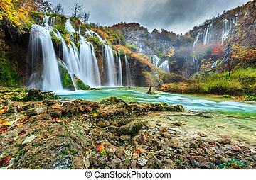 Spectacular waterfalls in forest Plitvice lakes, Croatia, Europe