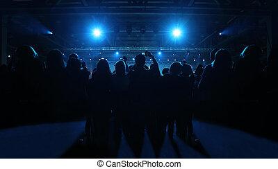 spectateurs, foule, gens, party;, cameras, dos, silhouettes, amusement, avoir