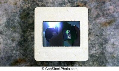 Spectator Girl Shooting On Camera on slide film