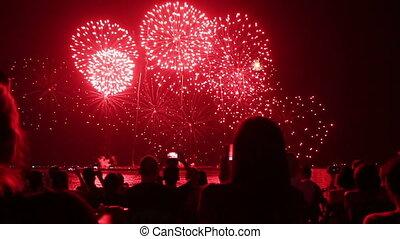 spectators with smartphones watching fireworks