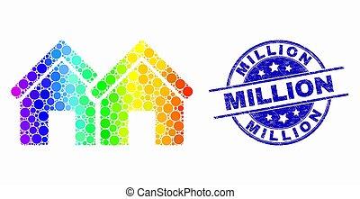 spectral, グランジ, 切手, ミリオン, 家, ベクトル, pixelated, シール, アイコン