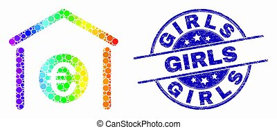 spectral, グランジ, 切手, 女の子, ベクトル, pixelated, シール, アイコン, 銀行, ユーロ