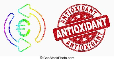 spectral, グランジ, 切手, antioxidant, 更新, ベクトル, pixelated, シール, アイコン, ユーロ