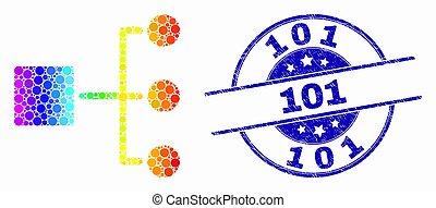 spectral, グランジ, 点を打たれた, 階層, 切手, ベクトル, シール, 101, アイコン