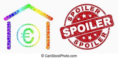 spectral, スポイラー, グランジ, 点を打たれた, 切手, ベクトル, アイコン, 銀行, ユーロ