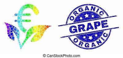 spectral, ブドウ, 有機体である, 芽, 始動, ベクトル, pixelated, シール, グランジ, ユーロ, アイコン