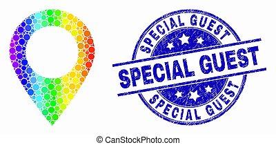 spectral, 地図, 苦脳, 点を打たれた, 切手, ベクトル, マーカー, アイコン, 特別, ゲスト