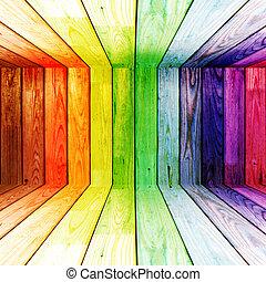 spectral, 木製である, 部屋, カラフルである
