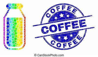 spectral, café, détresse, timbre, vecteur, bouteille, boire, point, icône