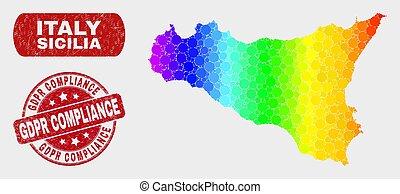 spectral, carte, grunge, conformité, sicilia, cachet, mosaïque, gdpr