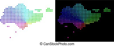spectral, carte, pixelated, singapour
