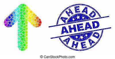 spectral, détresse, devant, timbre, haut, vecteur, flèche, cachet, point, icône