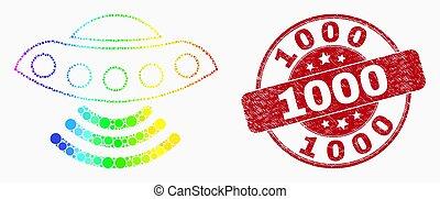 spectral, détresse, ovnis, timbre, vecteur, cachet, icône, point, 1000