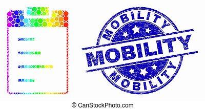 spectral, détresse, pointillé, mobilité, timbre, texte, vecteur, tampon, cachet, icône