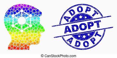 spectral, détresse, timbre, adopter, cerveau, vecteur, humain, cachet, point, icône