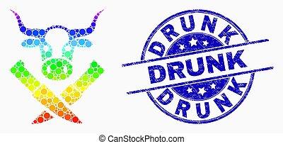 spectral, détresse, vache, ivre, timbre, boucherie, vecteur, cachet, point, icône