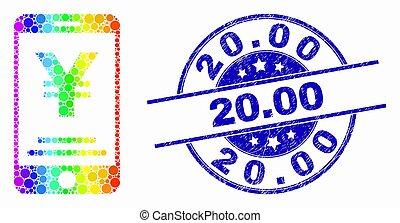 spectral, détresse, yen, mobile, banque, vecteur, 20.00, icône, pixel, timbre