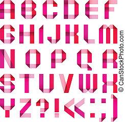 spectral, doblado, papel, cartas, ribbon-pink