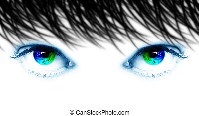 Spectral eyes - blue eyes with iris spectral - computer...