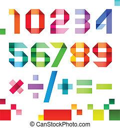 spectral, getallen, ineengevouwen , van, papier, lint,...