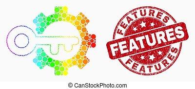 spectral, grunge, engrenage, timbre, vecteur, icône principale, options, point, caractéristiques