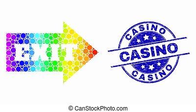 spectral, grunge, timbre, casino, vecteur, sortie, flèche, cachet, pixel, icône