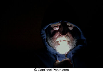 Spectral Image - Spectral image of a spooky man with dark,...