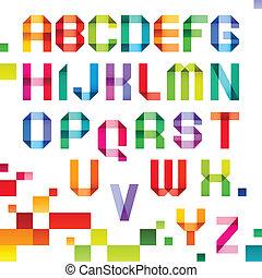 spectral, letras, cor, dobrado, papel, fita