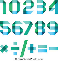 Spectral letters folded of paper  - Arabic numerals