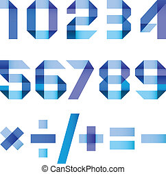 Spectral letters folded of paper blue ribbon - Arabic numerals