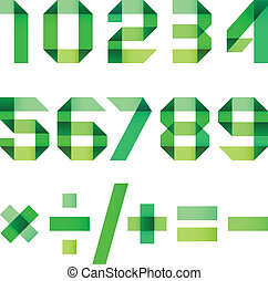 Spectral letters folded of paper green ribbon - Arabic numerals