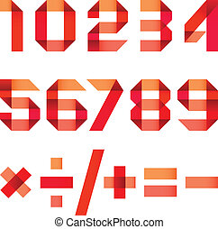 Spectral letters folded of paper red ribbon - Arabic numerals