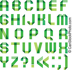 Spectral letters folded of paper ribbon-green