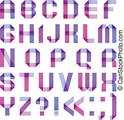 Spectral letters folded of paper ribbon-purple