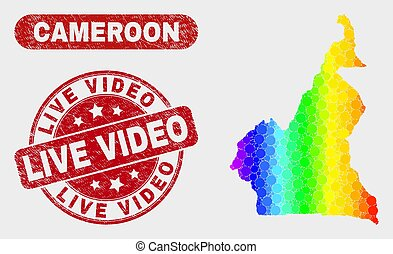 Spectral Mosaic Cameroon Map and Distress Live Video Stamp Seal