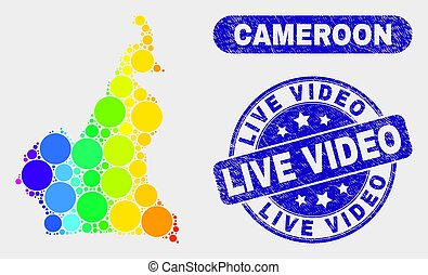 Spectral Mosaic Cameroon Map and Grunge Live Video Stamp