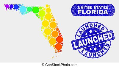 Spectral Mosaic Florida State Map and Scratched Launched Stamp