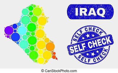 Spectral Mosaic Iraq Map and Grunge Self Check Stamp Seal