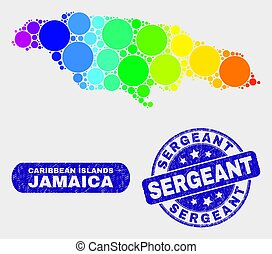 Spectral Mosaic Jamaica Map and Distress Sergeant Stamp Seal