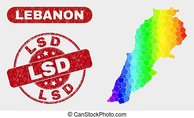 Spectral Mosaic Lebanon Map and Scratched Lsd Stamp Seal