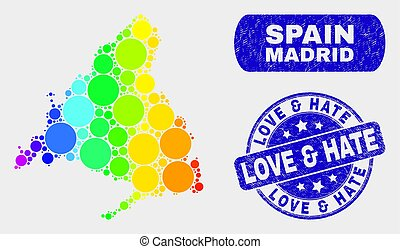 Spectral Mosaic Madrid Province Map and Grunge Love & Hate Watermark