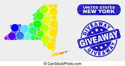 Spectral Mosaic New York State Map and Scratched Giveaway Seal