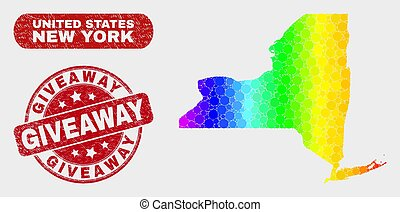 Spectral Mosaic New York State Map and Scratched Giveaway Stamp