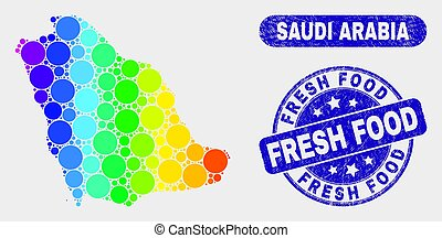 Spectral Mosaic Saudi Arabia Map and Grunge Fresh Food Watermark