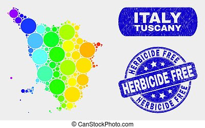Spectral Mosaic Tuscany Region Map and Grunge Herbicide Free Stamp