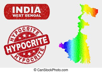 Spectral Mosaic West Bengal State Map and Scratched Hypocrite Stamp Seal