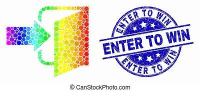 spectral, porta, selo, ganhe, entrar, vetorial, saída, selo, grunge, ponto, ícone