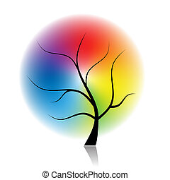 spectral, sztuka, drzewo, kolor, projektować, twój